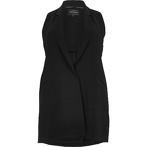 Plus black sleeveless cut-out tux jacket