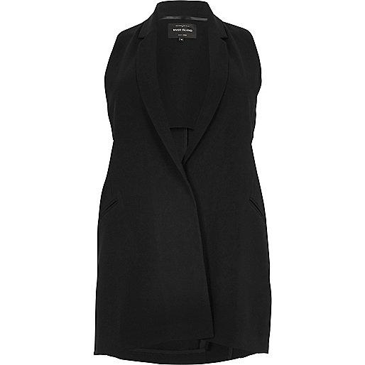 Veste de costume RI Plus noire à découpes sans manches