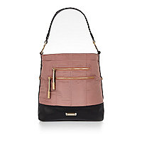 Pink sporty zip slouch bag