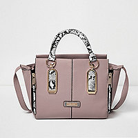 Pink snake print winged tote bag