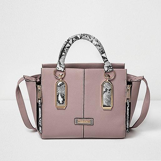 Pink snake print winged tote handbag