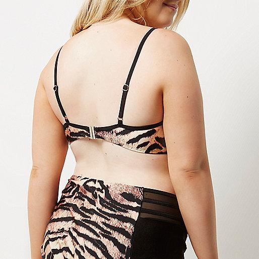 Plus tiger print plunge bikini top