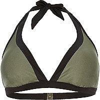 RI Plus khaki color block bikini top
