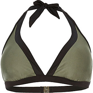 Plus khaki colour block bikini top