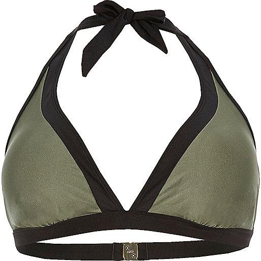 Plus – Bikinioberteil mit Blockfarbe in Khaki
