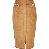 Beige double zip pencil skirt