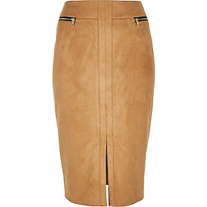 Beige double zip pencil skirt