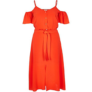 Red cold shoulder frilly midi shirt dress