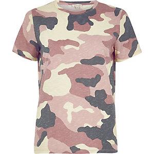 Pink camo print T-shirt
