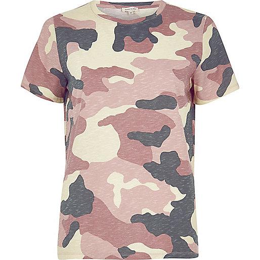 T-shirt imprimé camouflage rose