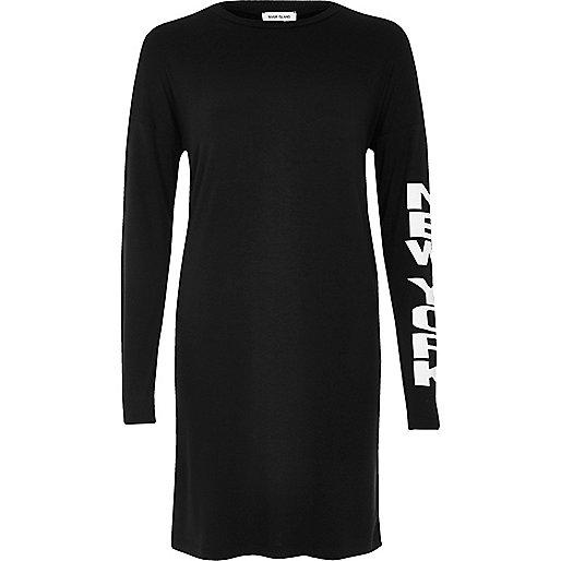 Black sleeve print longline top