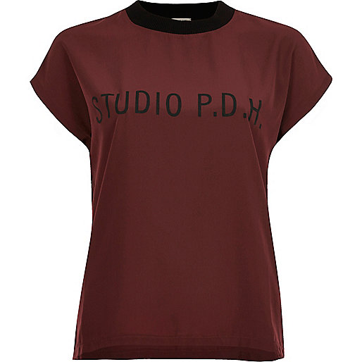 Red woven front panel T-shirt