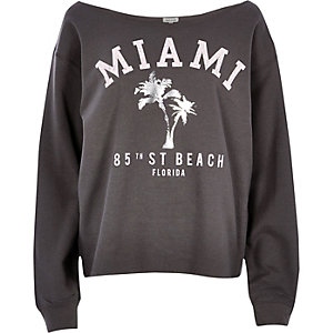 Grey Miami print sweatshirt