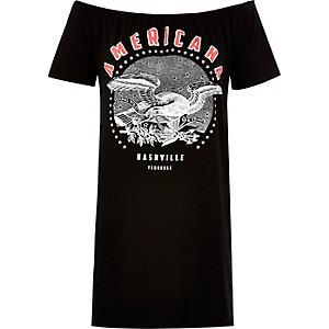 Black print longline bardot t-shirt