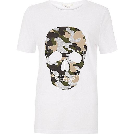 T-shirt imprimé tête de mort camouflage blanc