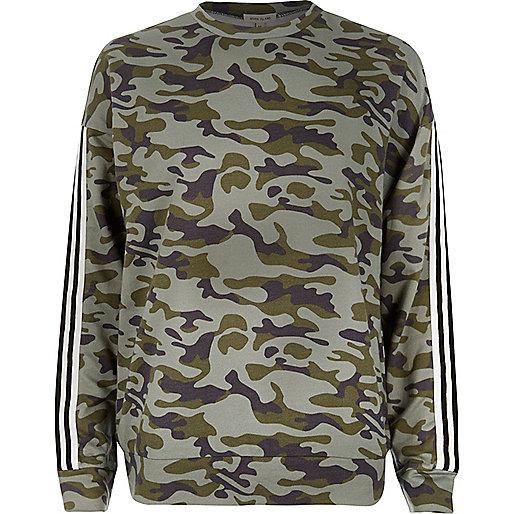 Sweat rayé camouflage kaki