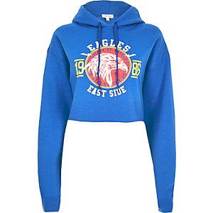 Blue eagle print cropped hoodie