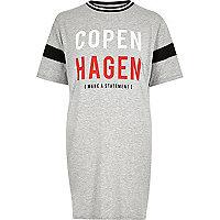 Grey 'Copenhagen' print boyfriend T-shirt
