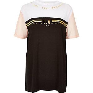 Black foil print boyfriend T-shirt