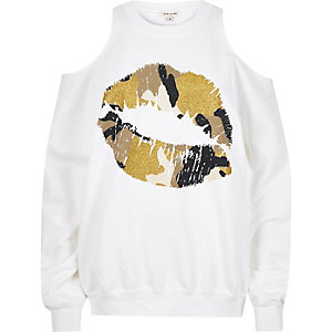 White lip print cold shoulder sweatshirt