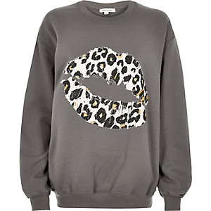 Grey leopard lip print sweatshirt
