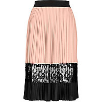 Light pink pleated lace midi skirt