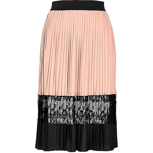 Light pink pleated lace midi skirt
