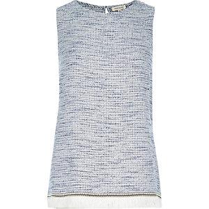 Blue embroidered fringe tank top