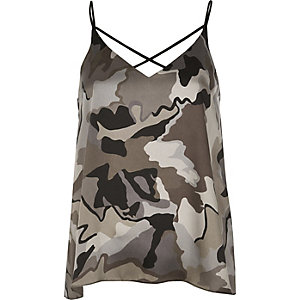 Grey camo strappy cami top