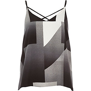Black geometric print strappy cami