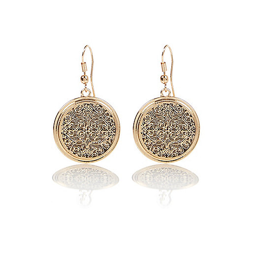 Gold tone filigree dangle earrings