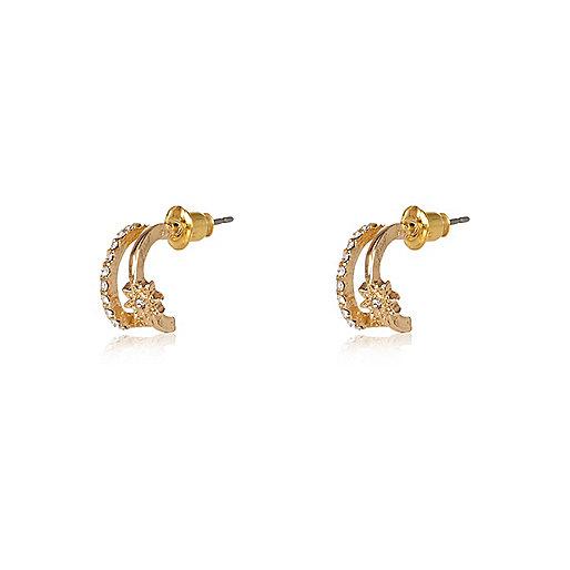 Gold tone sleep hoop earrings