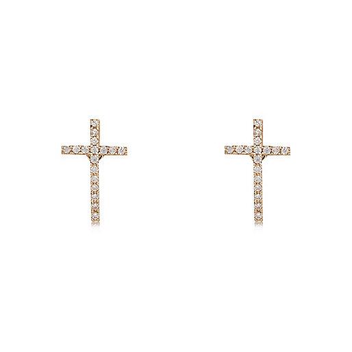 Clous d'oreilles dorés motif croix à strass