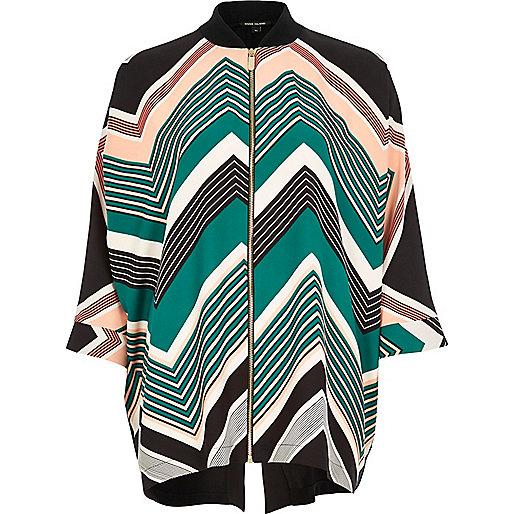 Green print zip shirt