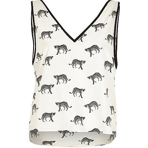 Weißes Pyjama-Oberteil mit Cheetah-Print