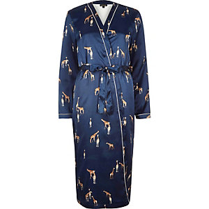 Blue giraffe print satin dressing gown