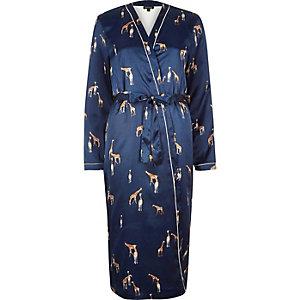 Robe de chambre en satin bleu imprimé girafe