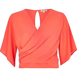 Fluro pink frilly wrap crop top