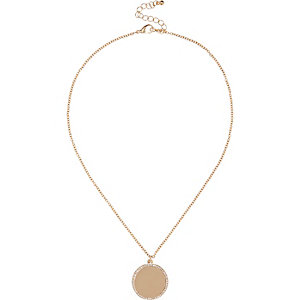 Gold tone coin necklace