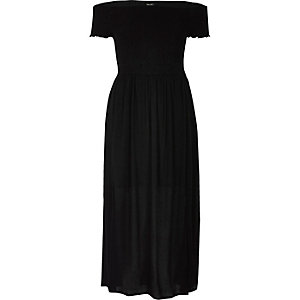Black layered bardot maxi dress