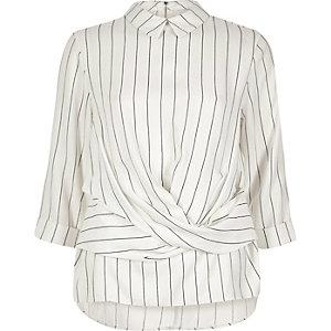 Cream stripe twist front top