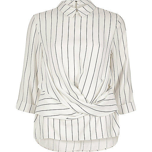 Cream stripe twist front top