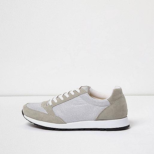Grey glitter runner trainers