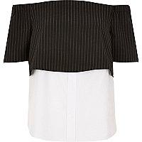 Black stripe layered bardot shirt