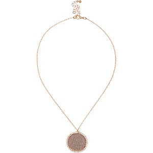 Rose gold tone glitter pendant necklace