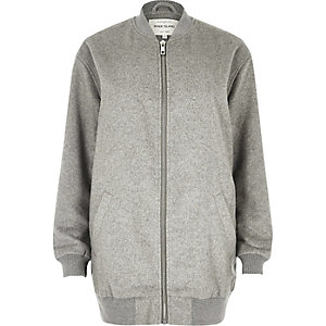 Grey longline bomber jacket
