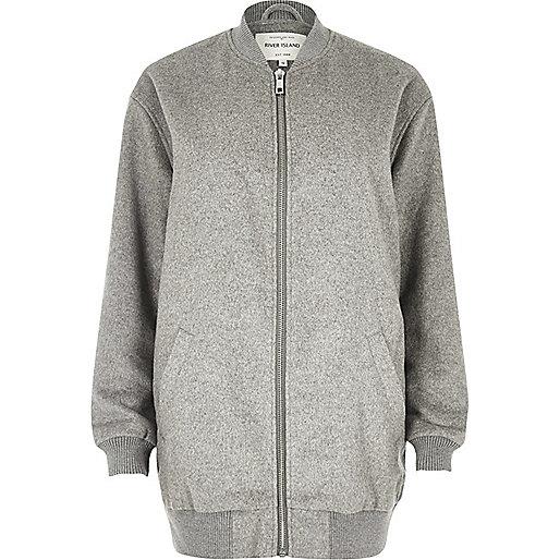Grey soft longline bomber jacket