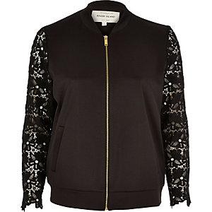 Black lace sleeve bomber jacket