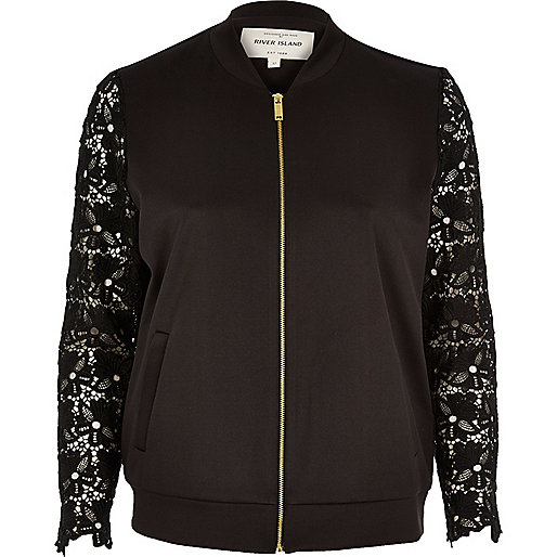 Black lace sleeve bomber jacket