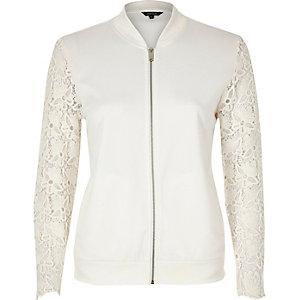 White lace sleeve jersey bomber jacket